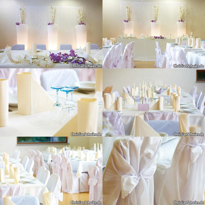 Hochzeitsdekoration in wei flieder christian schwier for Hochzeitsdekoration